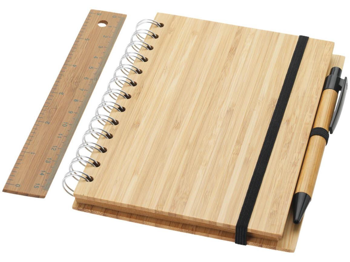 Franklin B6 Bambus Notizbuch mit Stift und Lineal, holz bedrucken, Art.-Nr. 10634300