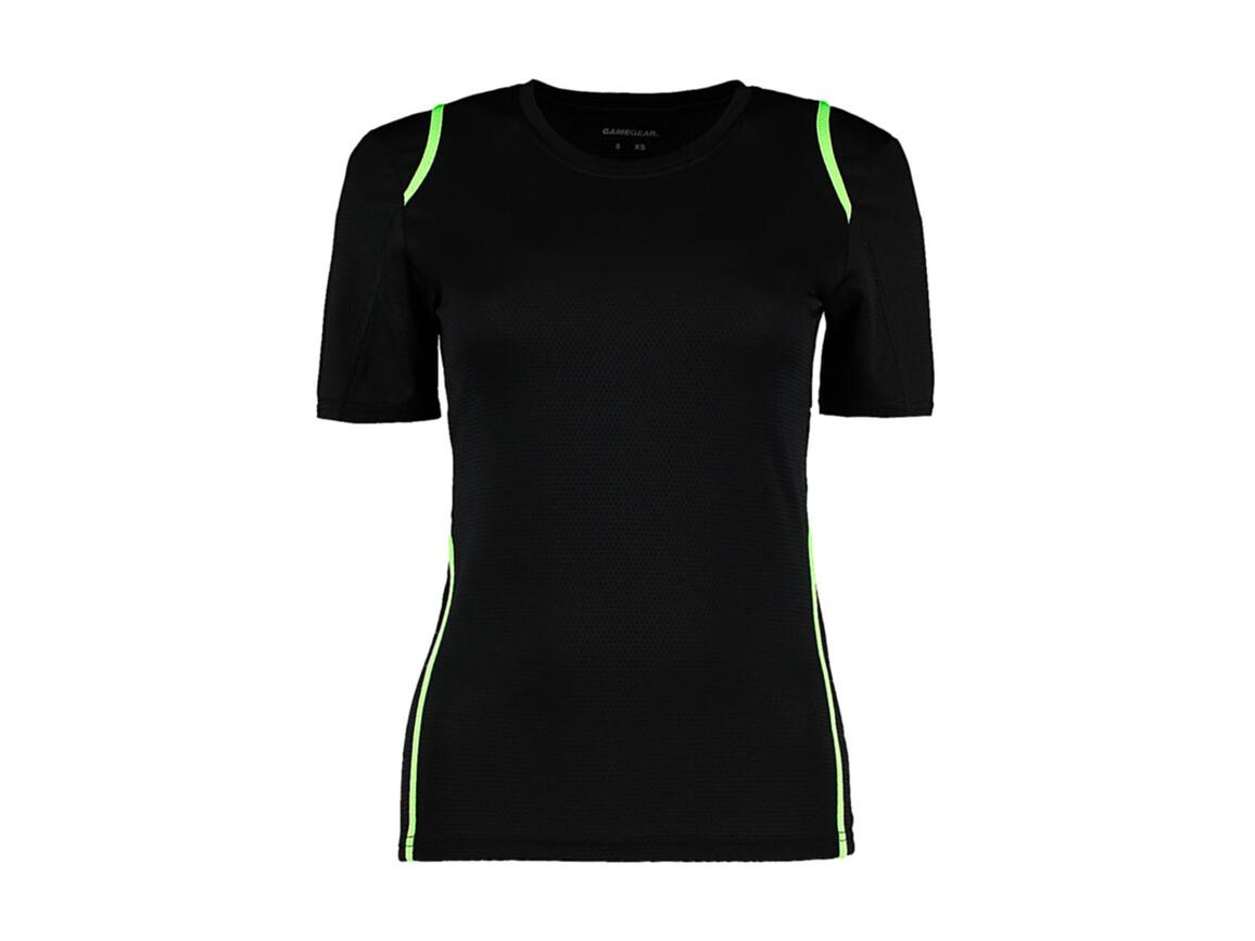 Kustom Kit Women`s Regular Fit Cooltex® Contrast Tee, Black/Fluorescent Lime, S bedrucken, Art.-Nr. 002111612