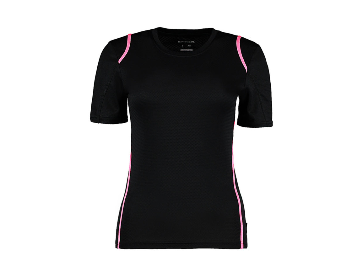 Kustom Kit Women`s Regular Fit Cooltex® Contrast Tee, Black/Fluorescent Pink, M bedrucken, Art.-Nr. 002111783