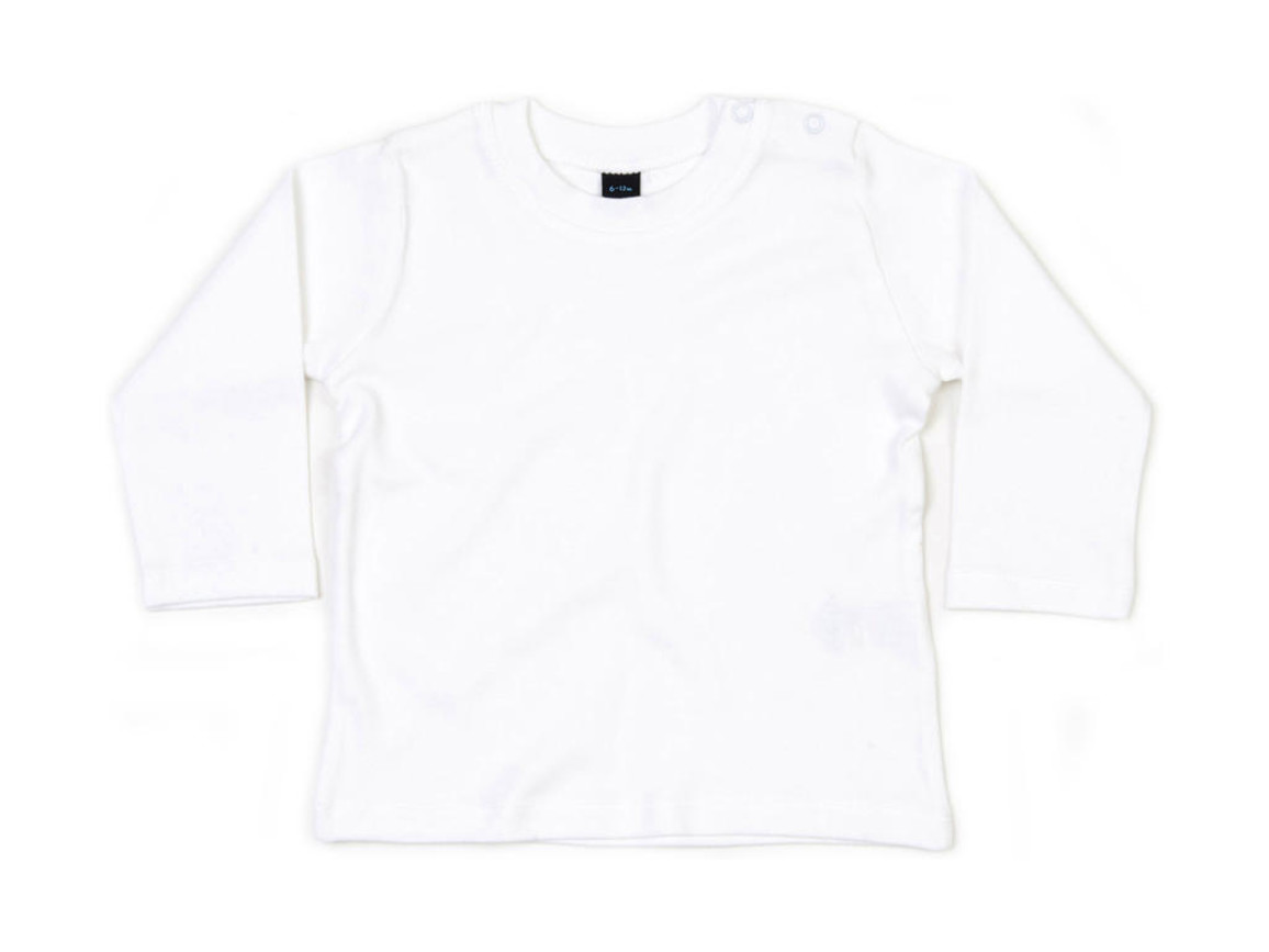 BabyBugz Baby Longsleeve Top, White, 12-18 bedrucken, Art.-Nr. 011470004