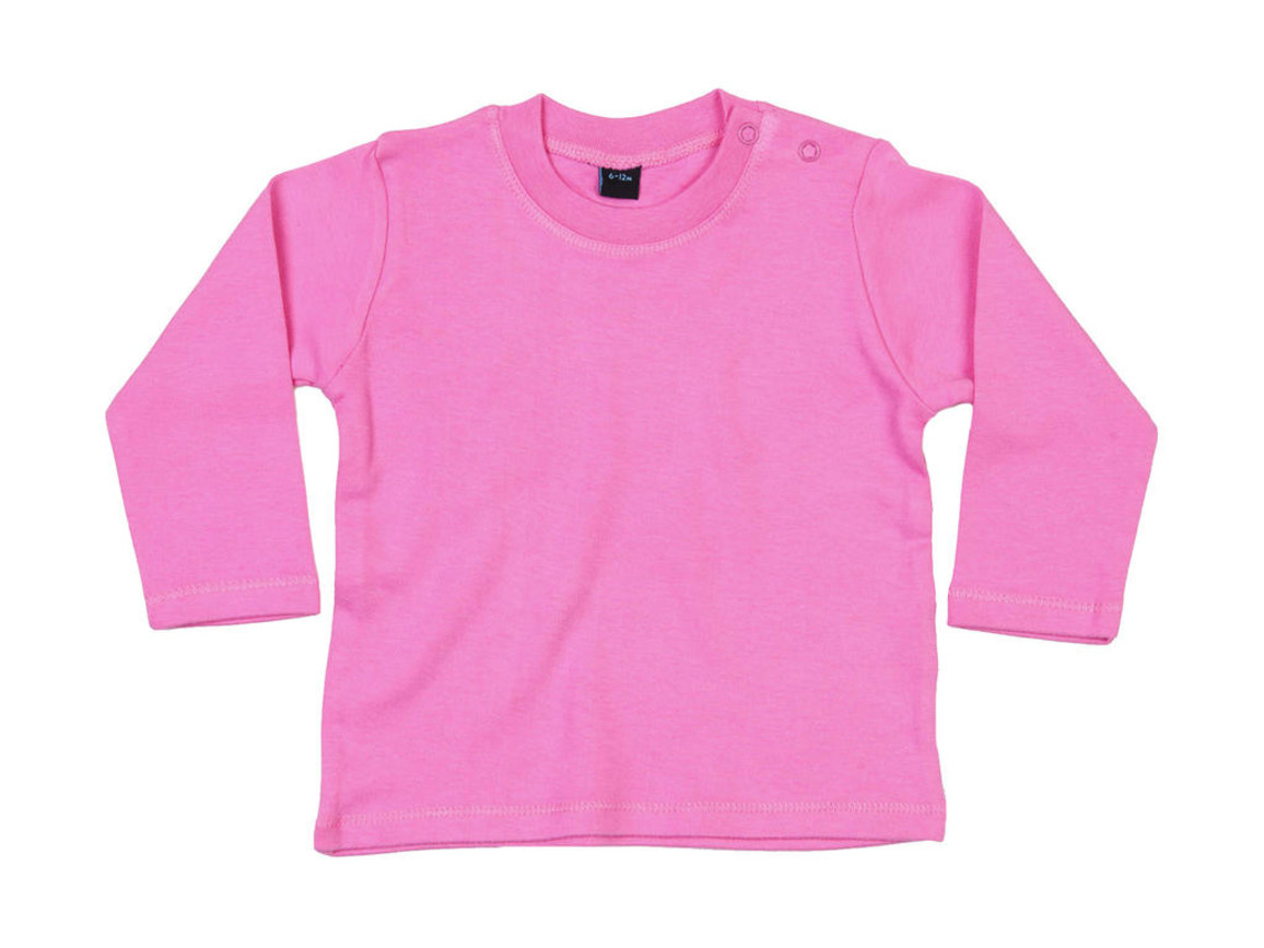 BabyBugz Baby Longsleeve Top, Bubble Gum Pink, 12-18 bedrucken, Art.-Nr. 011474224