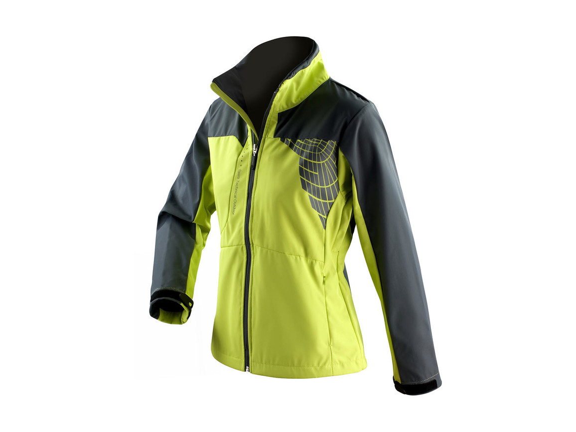 Result Women`s Team Soft Shell Jacket, Lime/Grey, XS bedrucken, Art.-Nr. 015335552