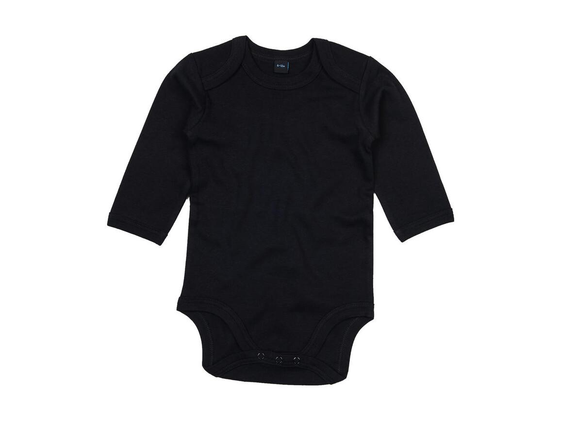 BabyBugz Baby Organic LS Bodysuit, Black, 12-18 bedrucken, Art.-Nr. 015471014