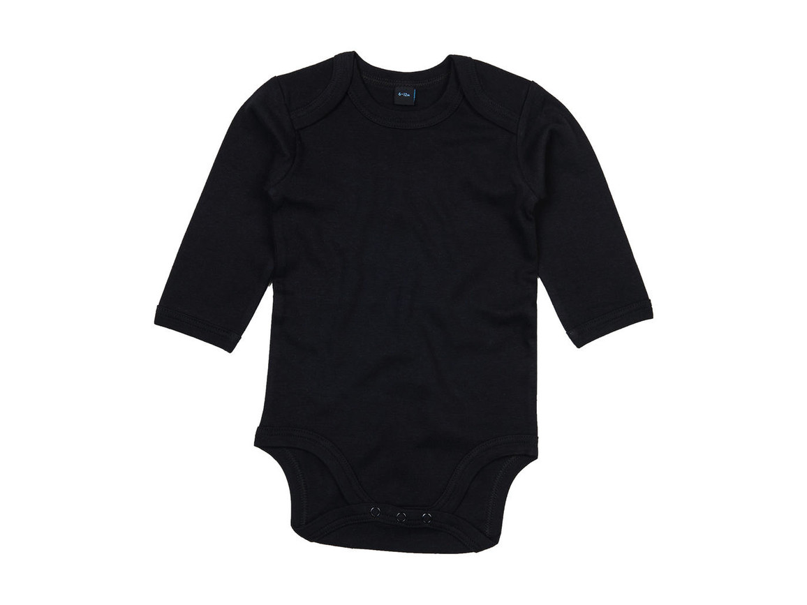 BabyBugz Baby Organic LS Bodysuit, Black, 6-12 bedrucken, Art.-Nr. 015471013