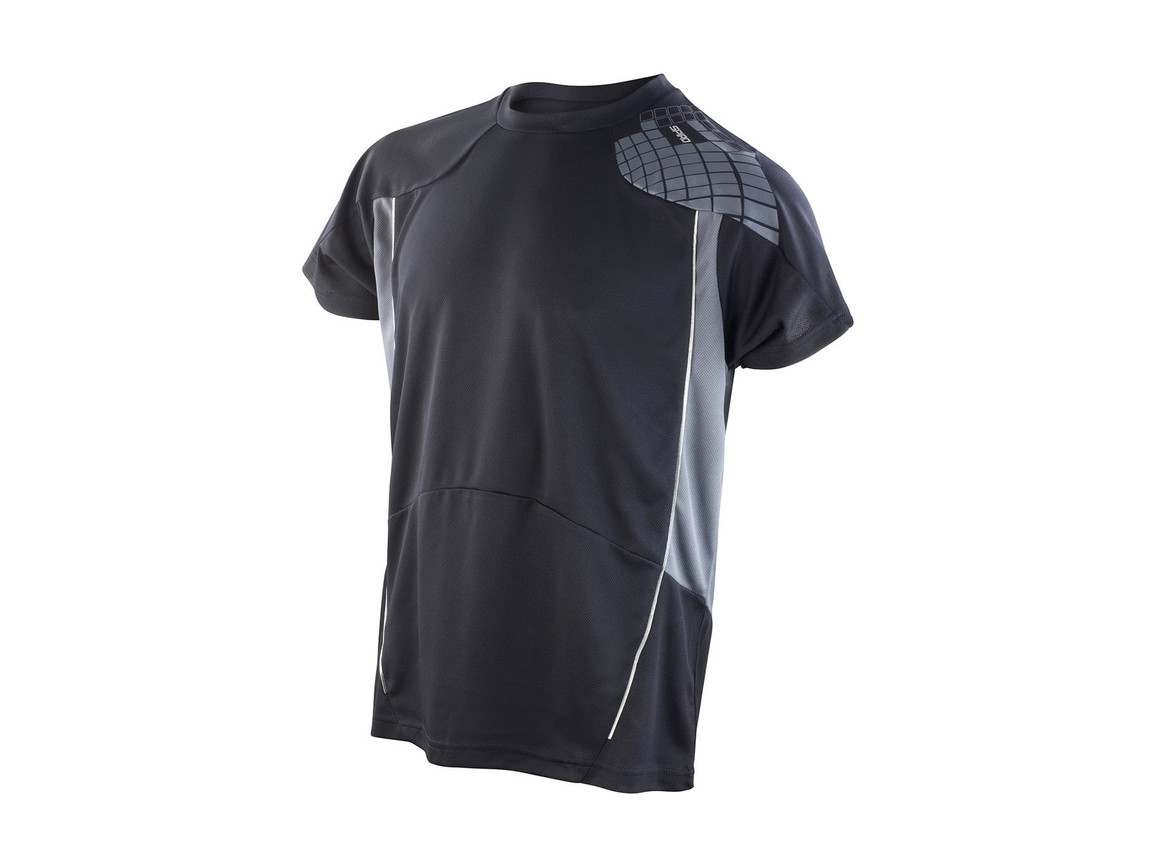 Result Men`s Training Shirt, Black/Grey, M bedrucken, Art.-Nr. 016331514