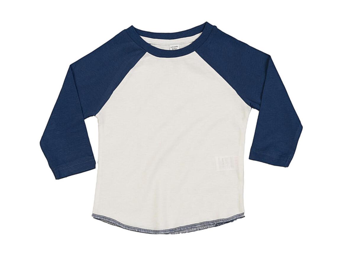 BabyBugz Baby Superstar Baseball T, Washed White/Swiss Navy, 18-24 bedrucken, Art.-Nr. 016470605