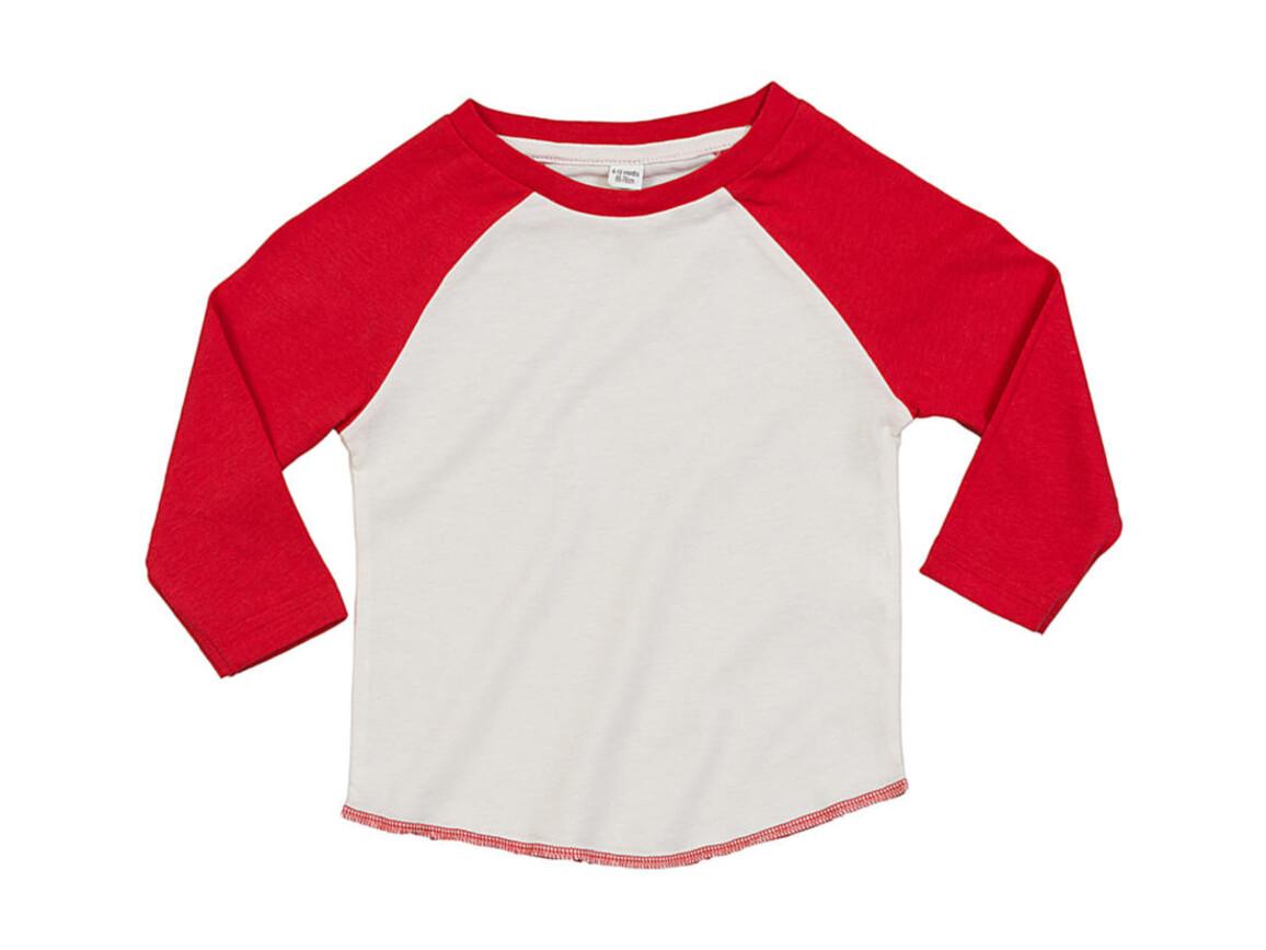 BabyBugz Baby Superstar Baseball T, Washed White/Warm Red, 6-12 bedrucken, Art.-Nr. 016470613