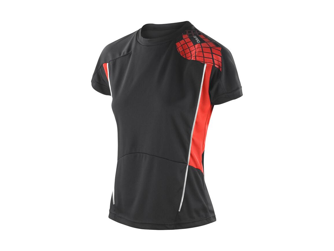 Result Women`s Training Shirt, Black/Red, L bedrucken, Art.-Nr. 017331545