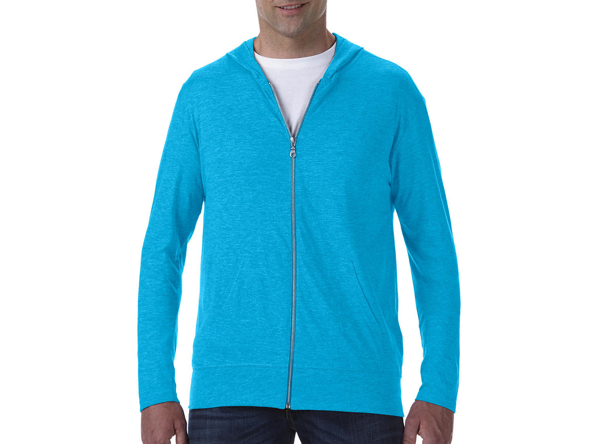 Anvil Adult Tri-Blend Full Zip Hooded Jacket, Heather Caribbean Blue, M bedrucken, Art.-Nr. 201083674