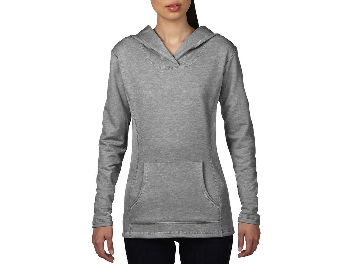 Anvil Women`s French Terry Hooded Sweat, Heather Grey, XL bedrucken, Art.-Nr. 249081236