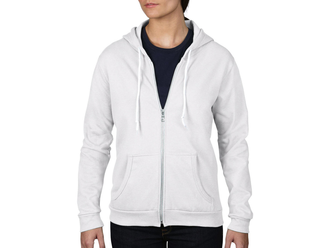 Anvil Women`s Fashion Full-Zip Hooded Sweat, White, 2XL bedrucken, Art.-Nr. 274080007