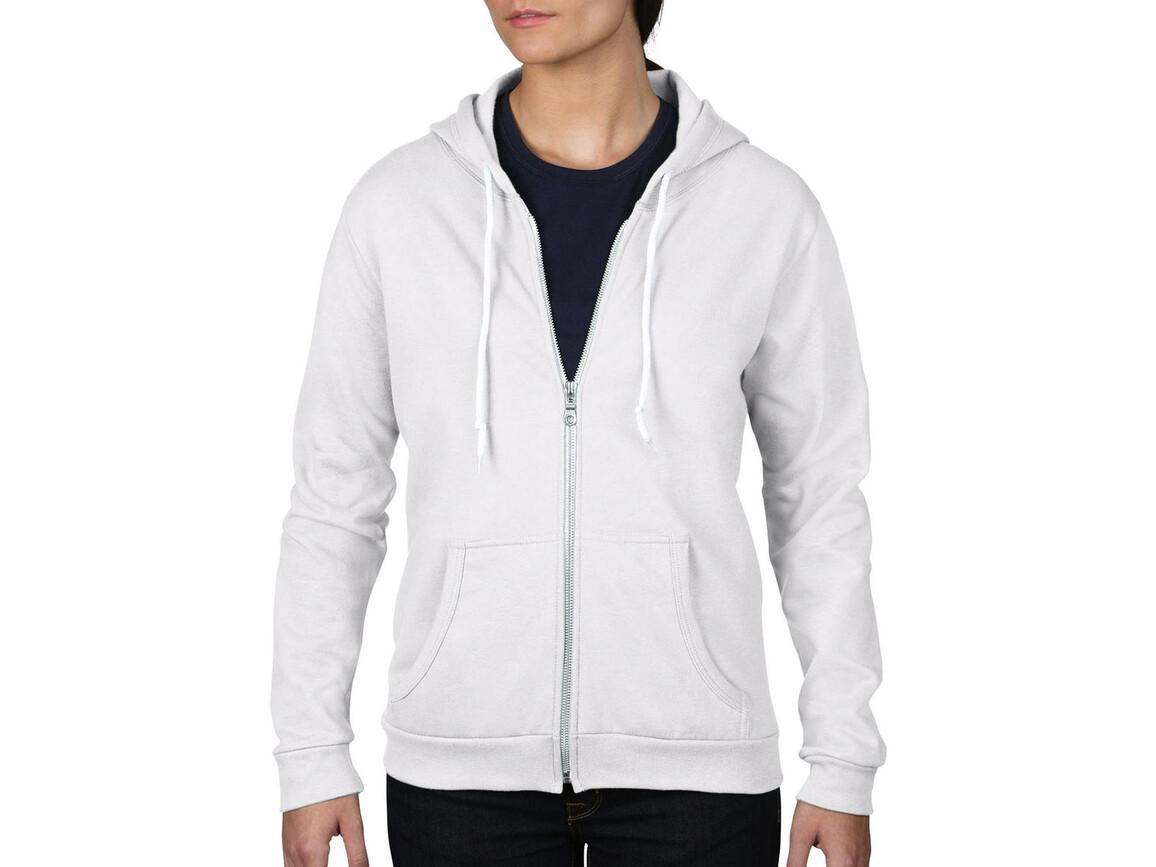 Anvil Women`s Fashion Full-Zip Hooded Sweat, White, XL bedrucken, Art.-Nr. 274080006