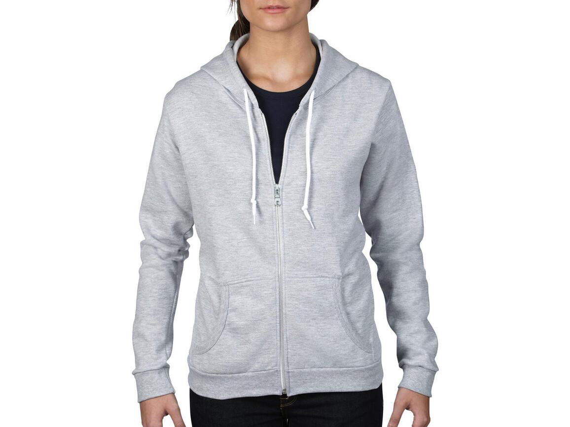 Anvil Women`s Fashion Full-Zip Hooded Sweat, Heather Grey, 2XL bedrucken, Art.-Nr. 274081237