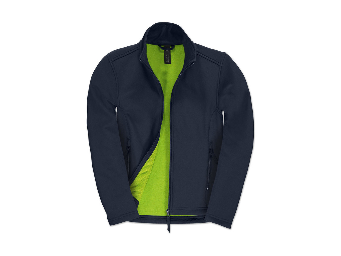 B & C ID.701/women Softshell Jacket, Navy/Neon Green, 2XL bedrucken, Art.-Nr. 447422707