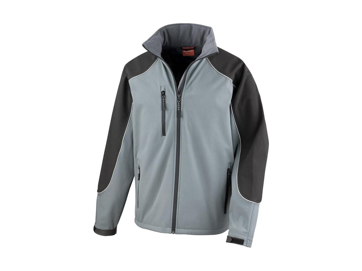 Result Ice Fell Hooded Softshell Jacket, Grey/Black, XS bedrucken, Art.-Nr. 448331482
