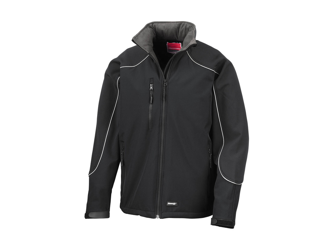 Result Ice Fell Hooded Softshell Jacket, Black/Black, 3XL bedrucken, Art.-Nr. 448331778
