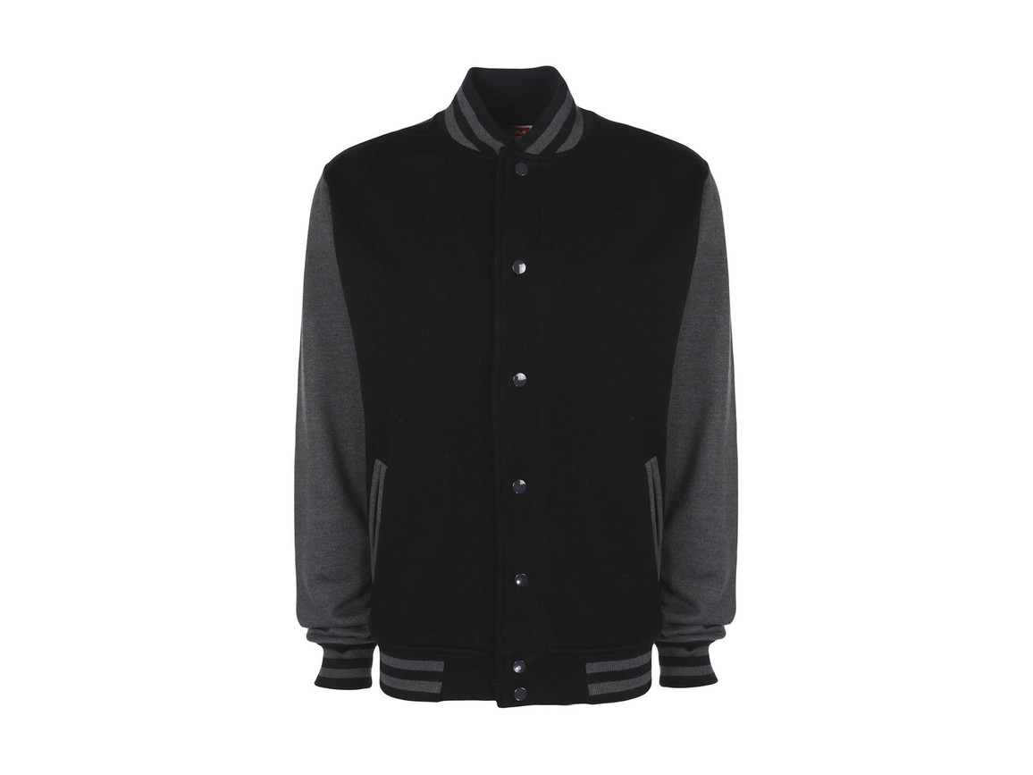 FDM Varsity Jacket, Black/Charcoal, S bedrucken, Art.-Nr. 455551593