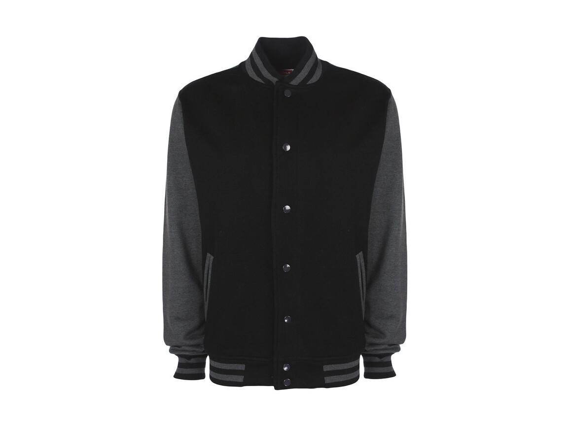 FDM Varsity Jacket, Black/Charcoal, XL bedrucken, Art.-Nr. 455551596