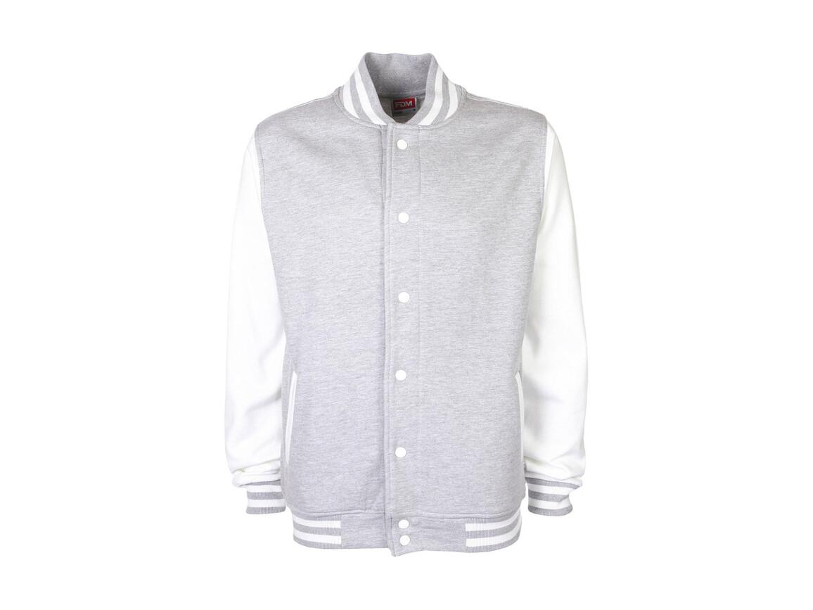FDM Varsity Jacket, Sport Grey/White, L bedrucken, Art.-Nr. 455551605