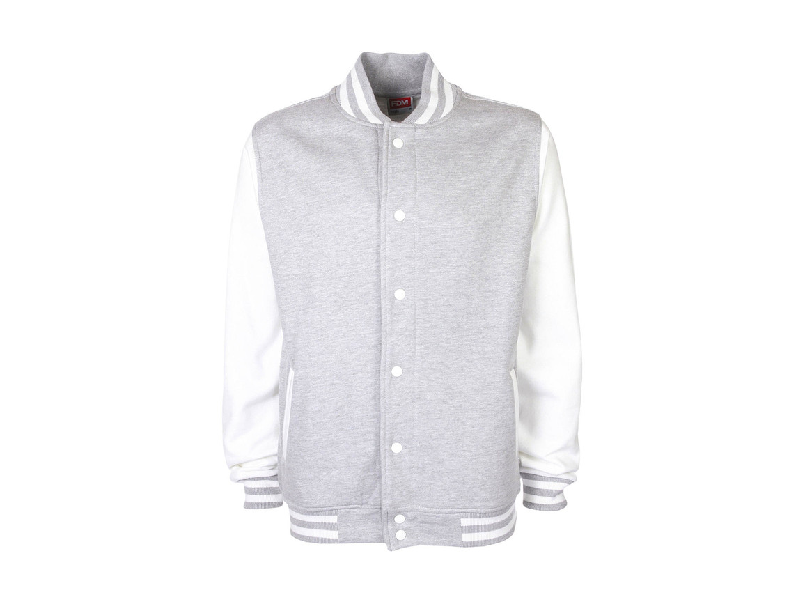 FDM Varsity Jacket, Sport Grey/White, M bedrucken, Art.-Nr. 455551604