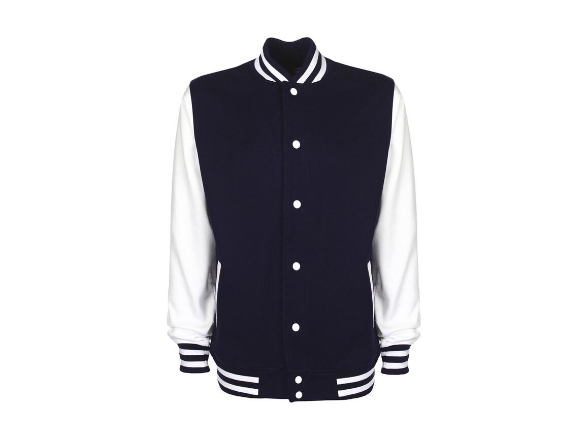 FDM Varsity Jacket, Navy/White, 2XL bedrucken, Art.-Nr. 455552527