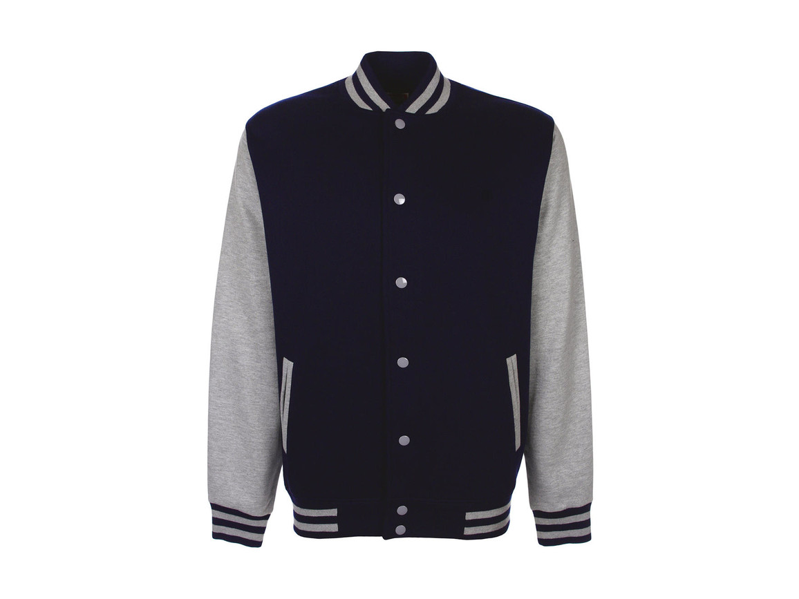 FDM Varsity Jacket, Navy/Sport Grey, L bedrucken, Art.-Nr. 455552745