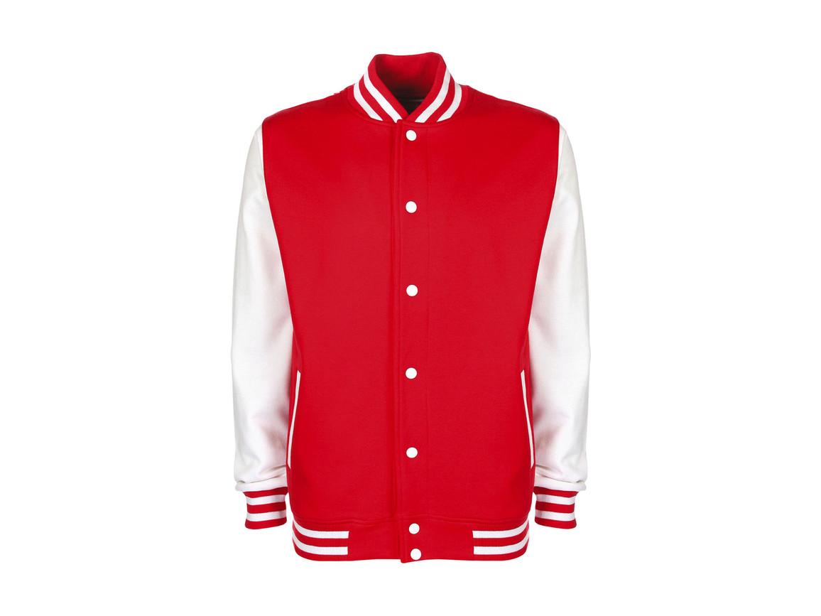 FDM Varsity Jacket, Fire Red/White, 3XL bedrucken, Art.-Nr. 455554508