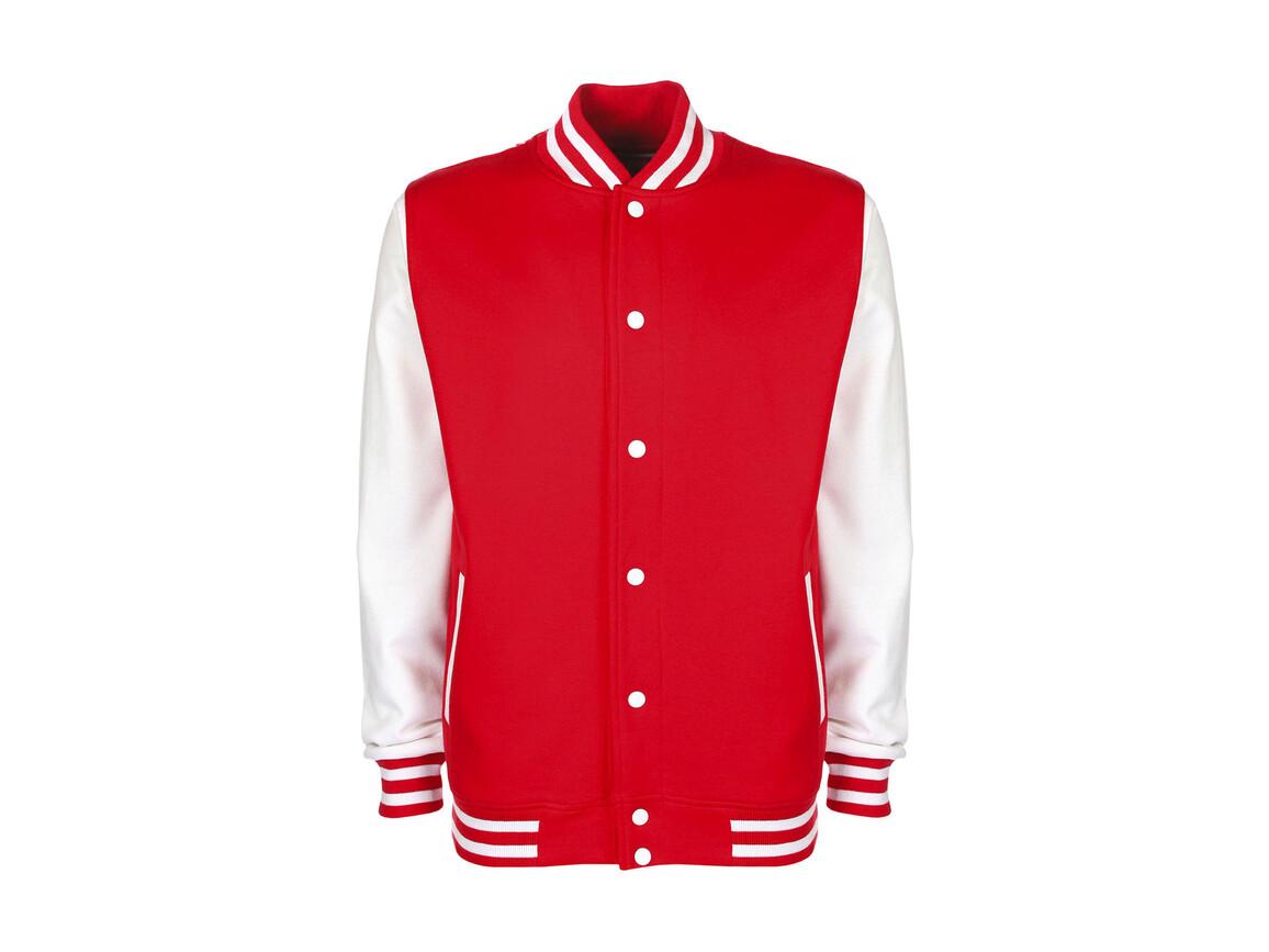 FDM Varsity Jacket, Fire Red/White, L bedrucken, Art.-Nr. 455554505