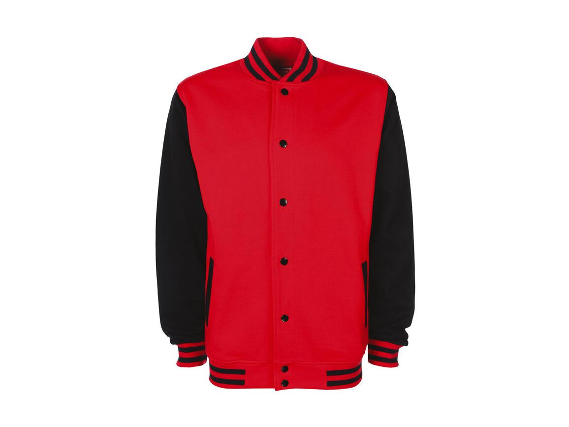 FDM Varsity Jacket, Fire Red/Black, 2XL bedrucken, Art.-Nr. 455554517