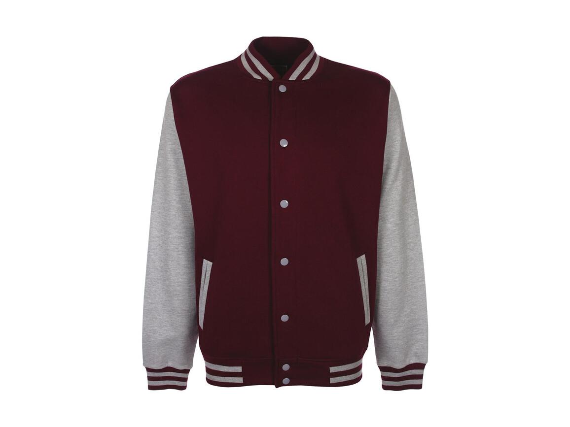 FDM Varsity Jacket, Burgundy/Sport Grey, L bedrucken, Art.-Nr. 455554615