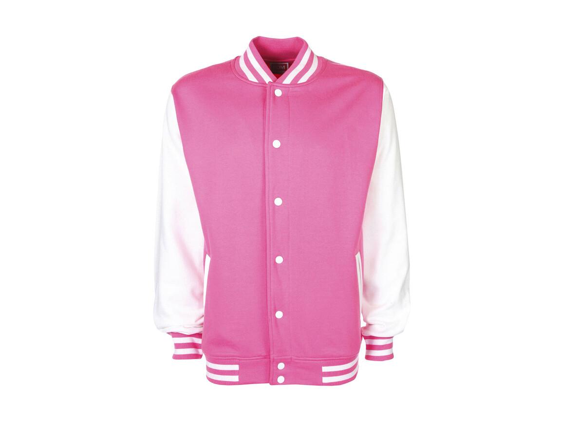 FDM Varsity Jacket, Bubblegum/White, 2XL bedrucken, Art.-Nr. 455554667