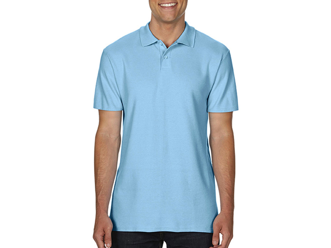Gildan Softstyle® Adult Double Pique Polo, Light Blue, XL bedrucken, Art.-Nr. 501093216