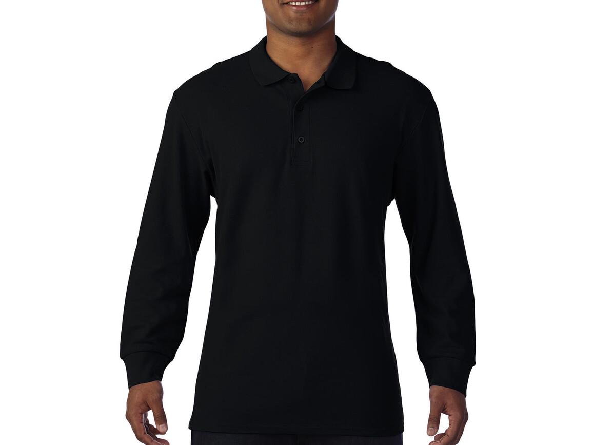 Gildan Premium Cotton Adult Double Piqué Polo LS, Black, XL bedrucken, Art.-Nr. 505091016