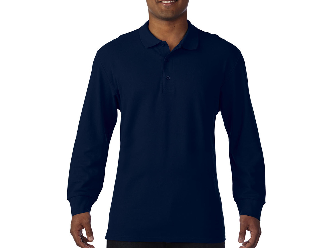 Gildan Premium Cotton Adult Double Piqué Polo LS, Navy, M bedrucken, Art.-Nr. 505092004