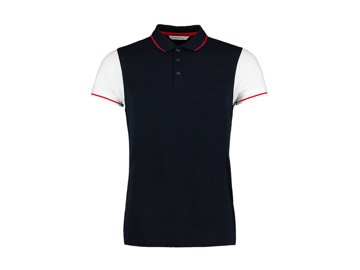 Kustom Kit Fashion Fit Contrast Tipped Polo, Navy/White/Red, L bedrucken, Art.-Nr. 506112865