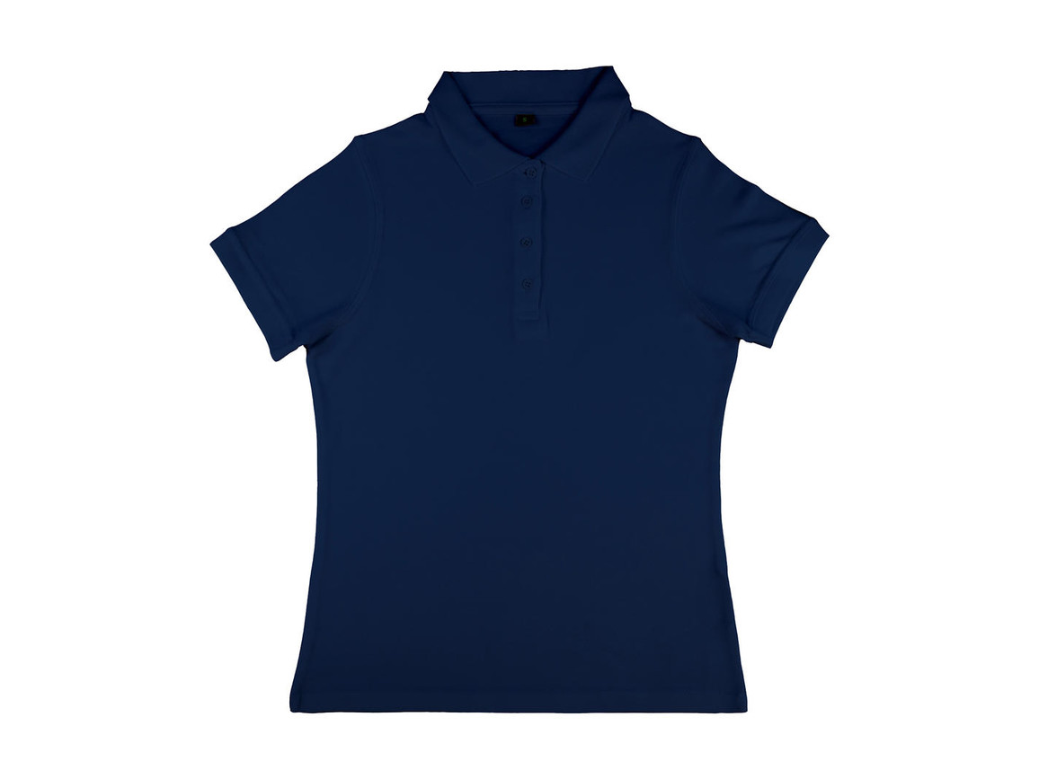 nakedshirt Grace Women`s Viscose-Cotton Pique-Polo, Navy, M bedrucken, Art.-Nr. 510852004