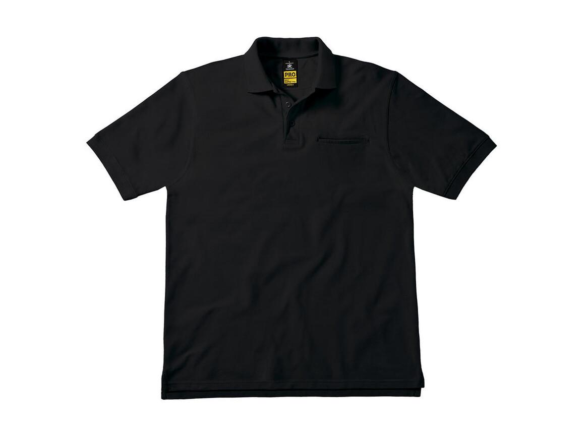 B & C Energy Pro Workwear Pocket Polo, Black, L bedrucken, Art.-Nr. 543421015