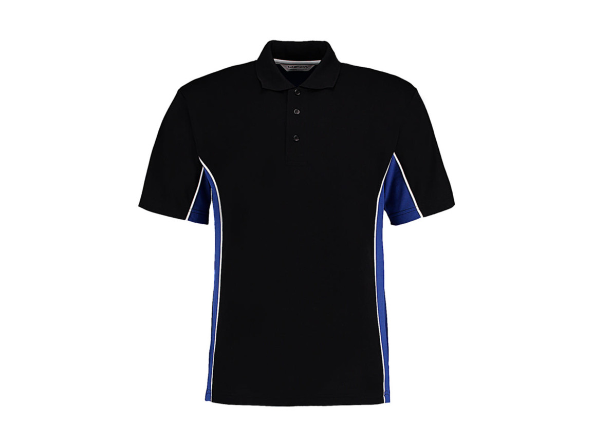 Kustom Kit Classic Fit Track Polo, Black/Royal/White, 2XL bedrucken, Art.-Nr. 547111887
