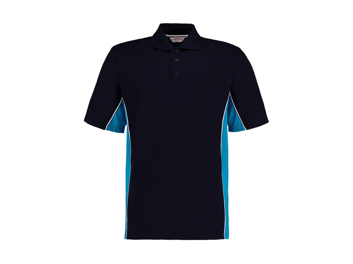 Kustom Kit Classic Fit Track Polo, Navy/Turquoise/White, XL bedrucken, Art.-Nr. 547112586
