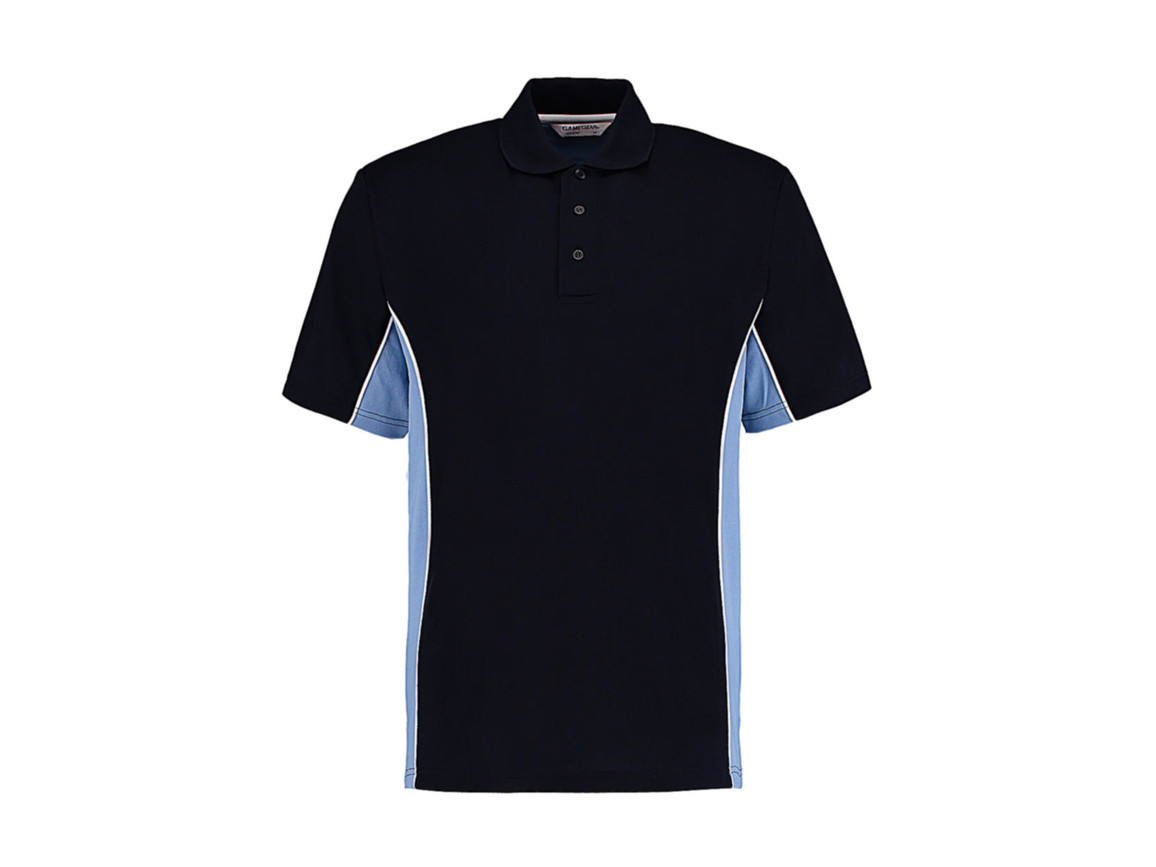 Kustom Kit Classic Fit Track Polo, Navy/Light Blue/White, M bedrucken, Art.-Nr. 547112834