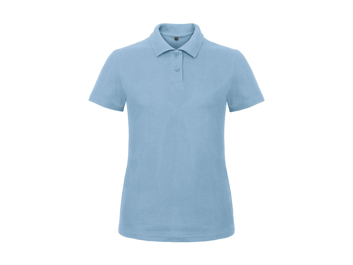 B & C ID.001/women Piqué Polo Shirt, Light Blue, S bedrucken, Art.-Nr. 547423223