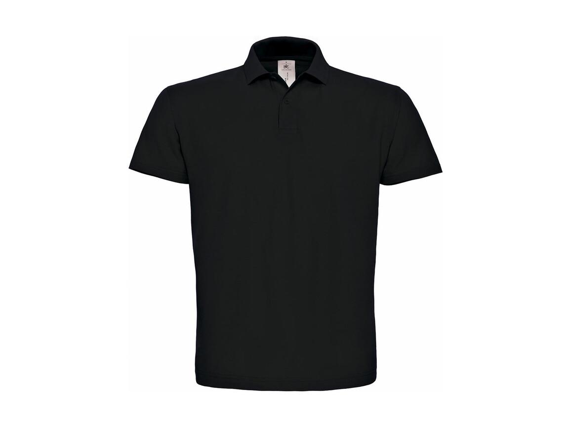 B & C ID.001 Piqué Polo Shirt, Black, S bedrucken, Art.-Nr. 548421013