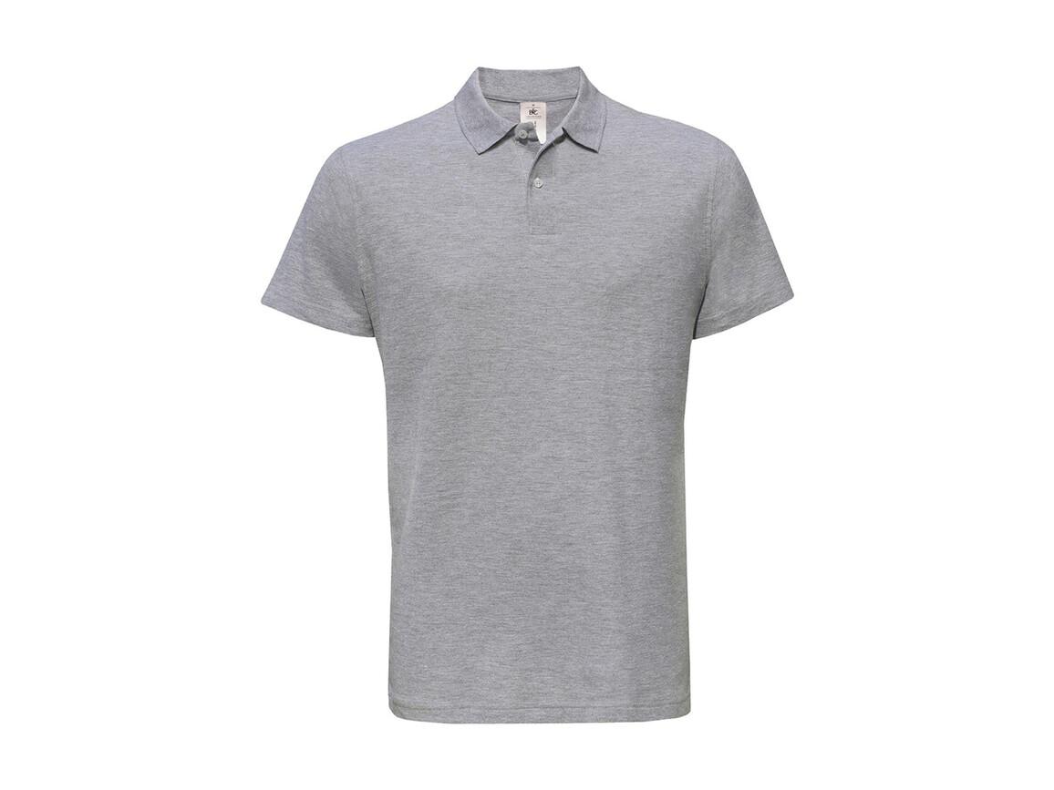 B & C ID.001 Piqué Polo Shirt, Heather Grey, 3XL bedrucken, Art.-Nr. 548421238
