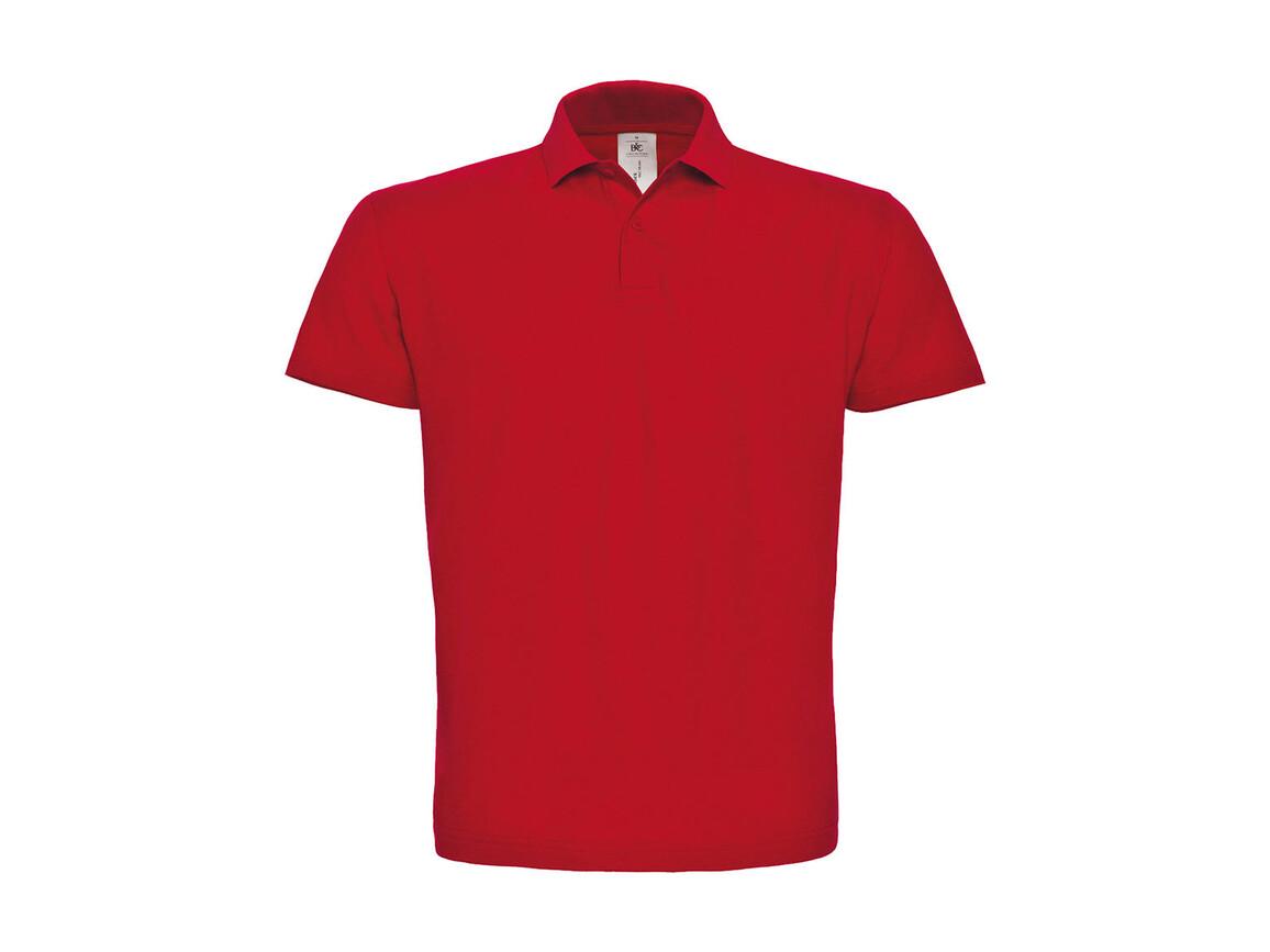 B & C ID.001 Piqué Polo Shirt, Red, L bedrucken, Art.-Nr. 548424005