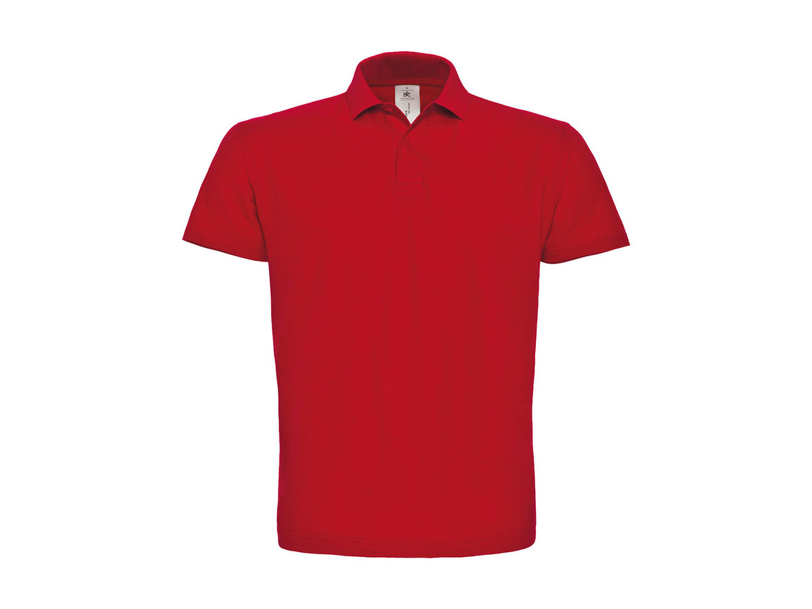B & C ID.001 Piqué Polo Shirt, Red, XS bedrucken, Art.-Nr. 548424002