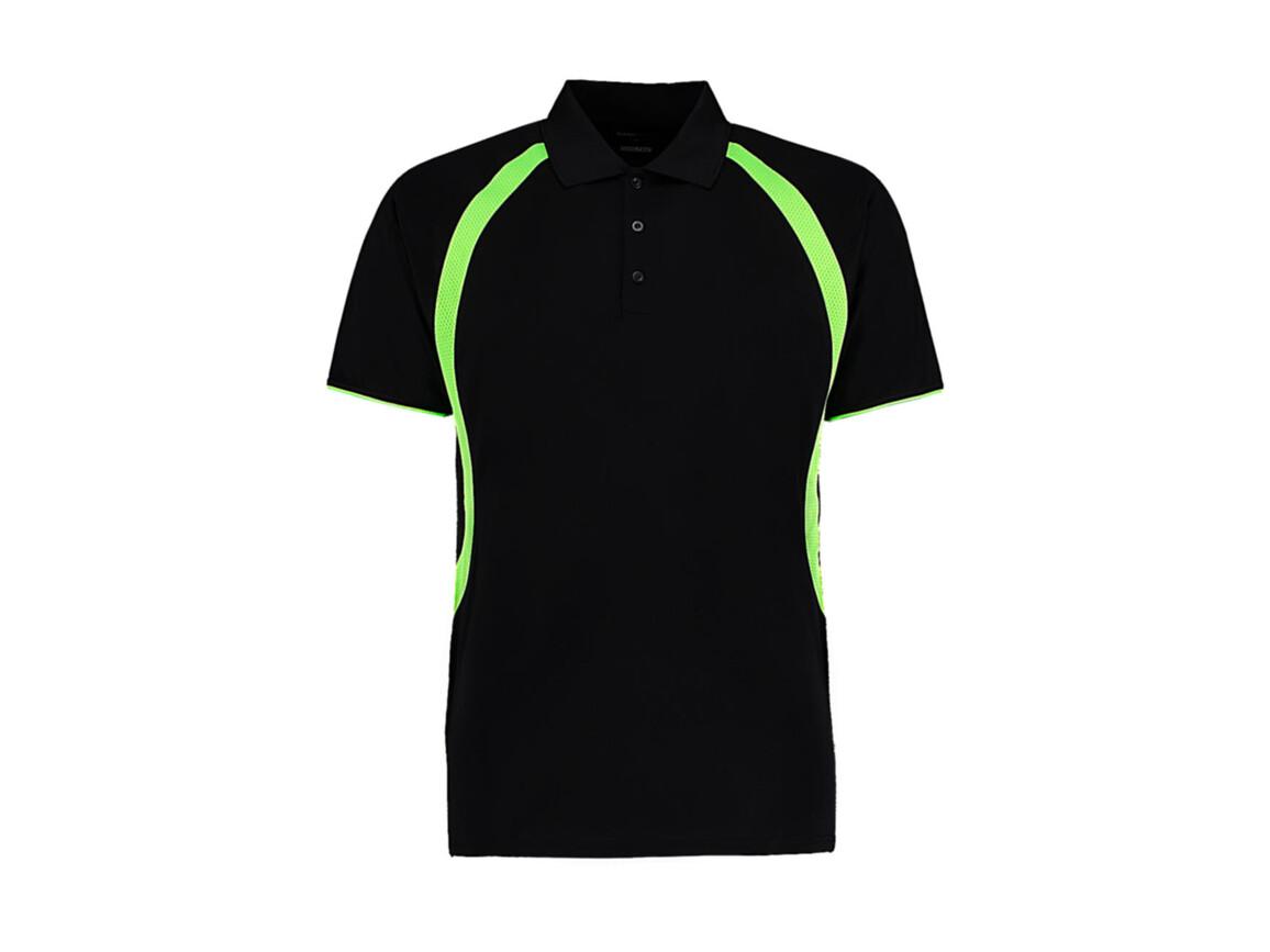Kustom Kit Classic Fit Cooltex® Riviera Polo Shirt, Black/Fluorescent Lime, L bedrucken, Art.-Nr. 550111625