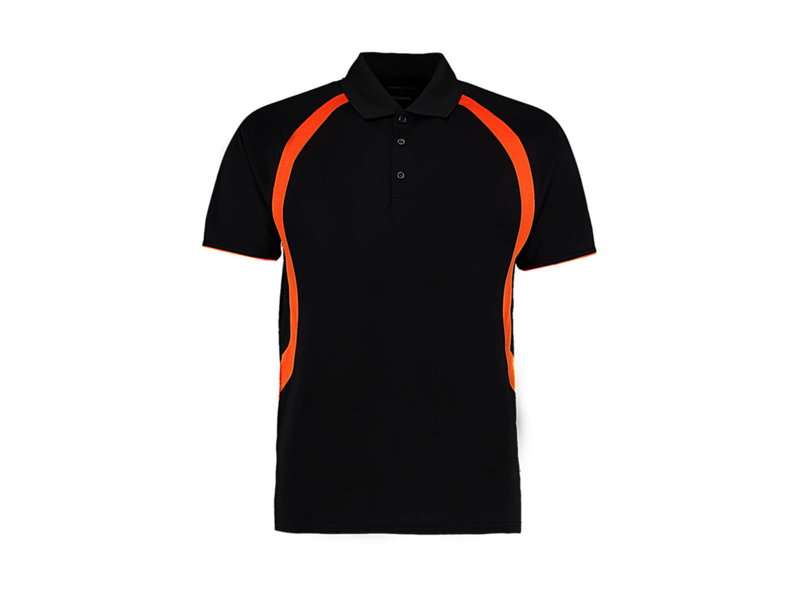 Kustom Kit Classic Fit Cooltex® Riviera Polo Shirt, Black/Orange, XL bedrucken, Art.-Nr. 550111666