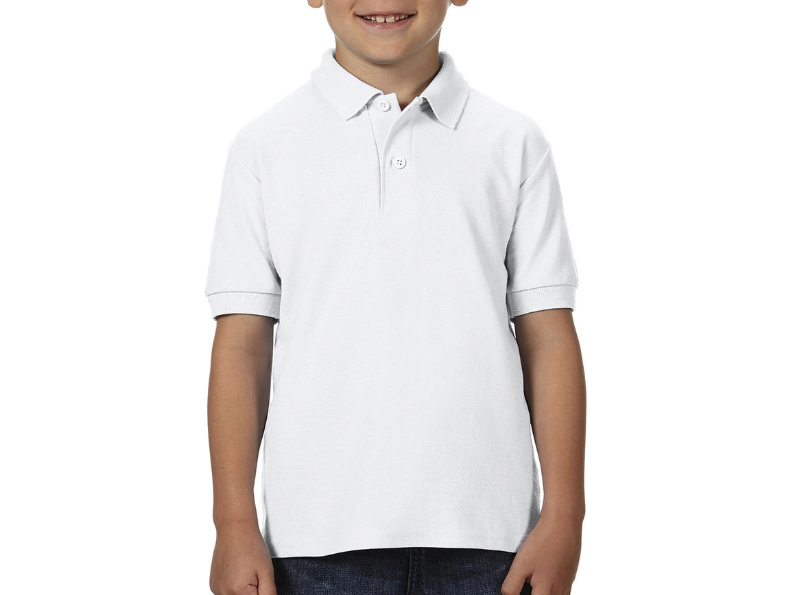 Gildan DryBlend® Youth Double Piqué Polo, White, L (164) bedrucken, Art.-Nr. 587090005