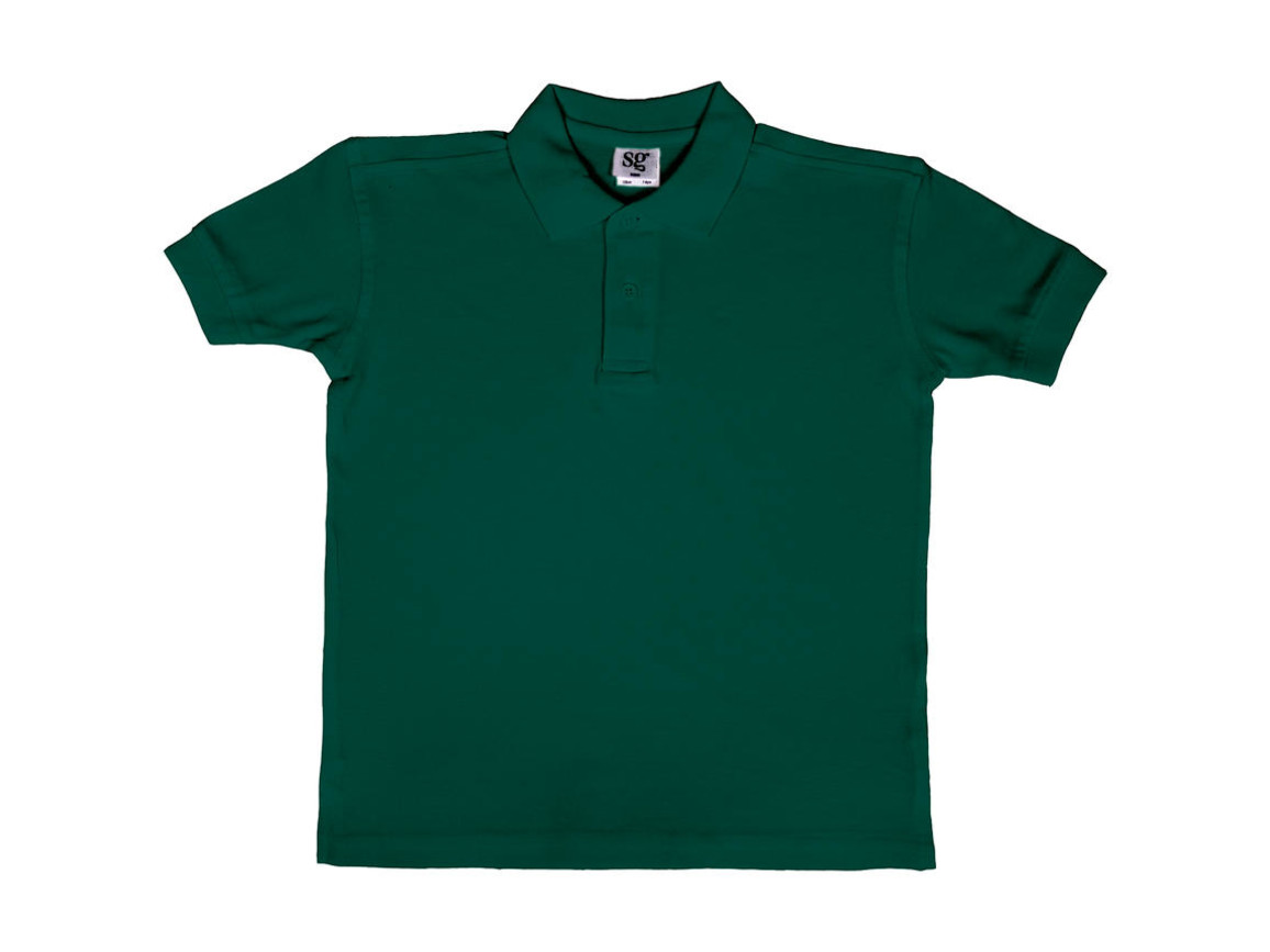 SG Kids` Cotton Polo, Bottle Green, 140 (9-10/XL) bedrucken, Art.-Nr. 588525406