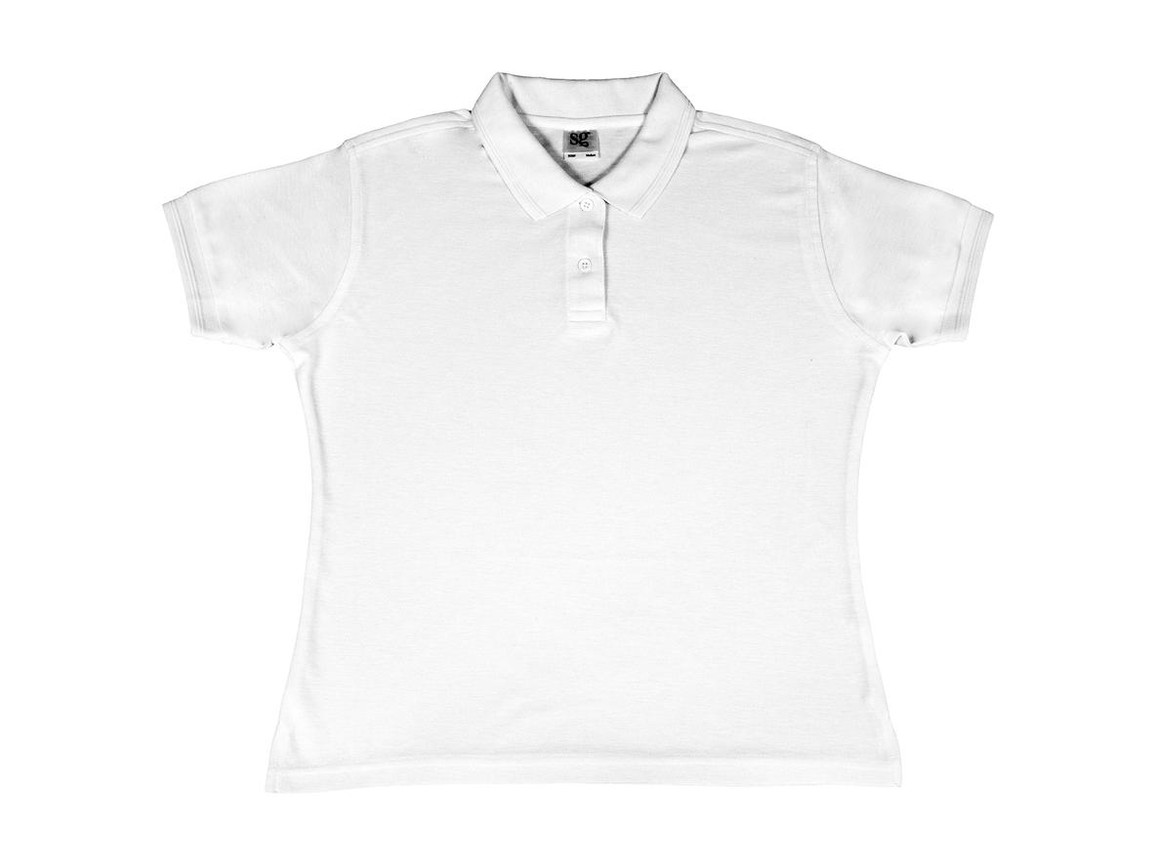 SG Ladies` Poly Cotton Polo, White, XS bedrucken, Art.-Nr. 593520002